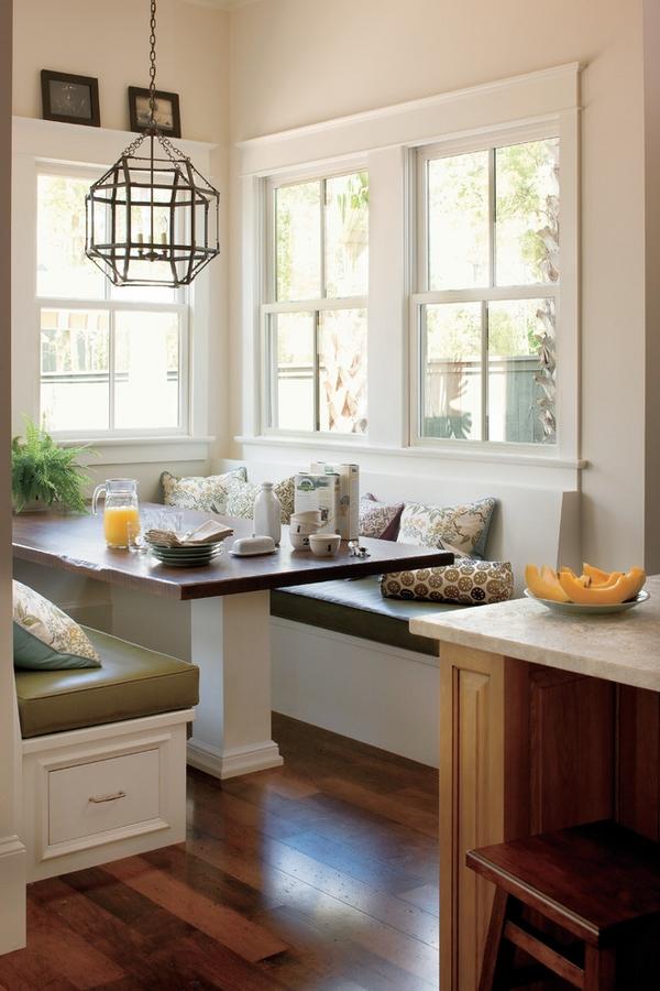 кухонный уголок  стол черно-белые сиденья с ящиками