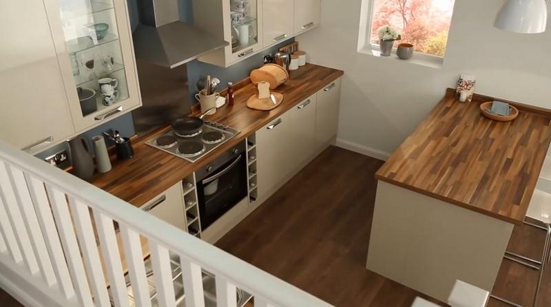 серая кухня со столешницей дерево