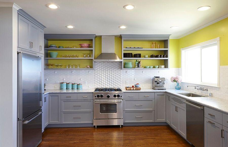 модные идеи серый желтый цвет кухни-11