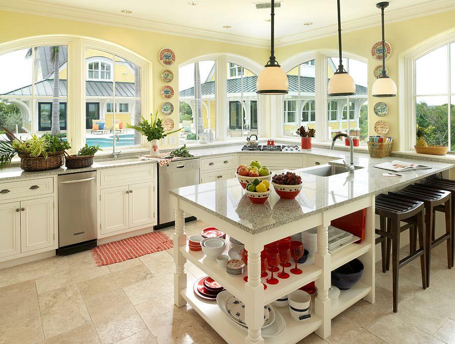 модные идеи серый желтый цвет кухни-2