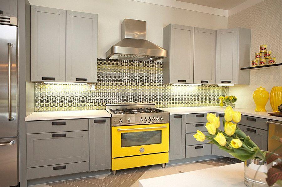 модные идеи серый желтый цвет кухни-3