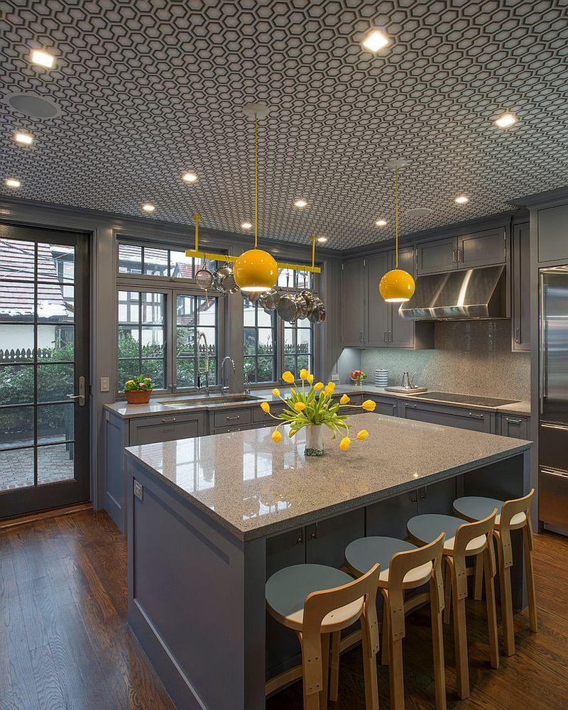 модные идеи серый желтый цвет кухни-7