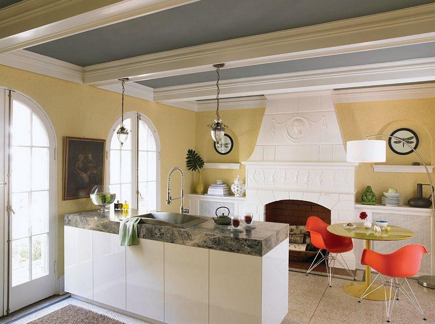 модные идеи серый желтый цвет кухни-9