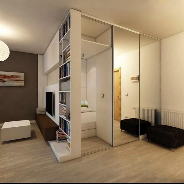 Зонирование однокомнатной квартиры интерьер фото